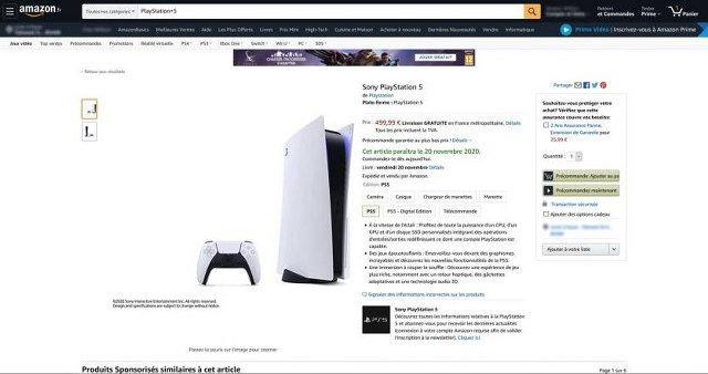 PlayStation 5 Amazon Francia
